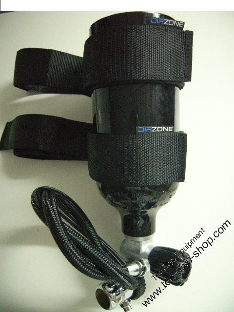 Argonset 1,5 L Luxfer DIR Zone, Befestigung an der Hauptflasche mit Miflex 65 cm