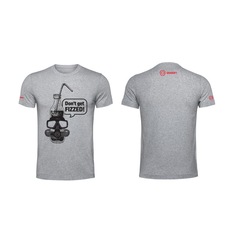 T-shirt DIVESOFT -  Don´t get fizzed - Grey