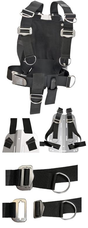 Backplate 3 mm V4A mit Harness verstellbar DIR Zone