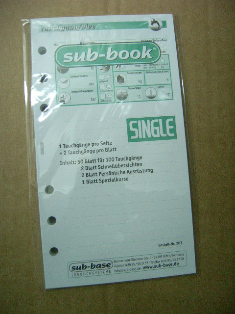Sub Base Logbuch Einlagen Single, 1 TG/Seite, 100 TG