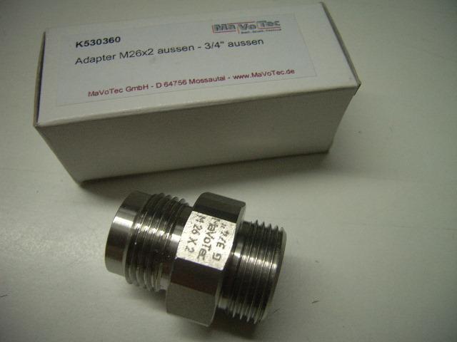 """Adapter 3/4"""" aussen - M26x2 aussen"""