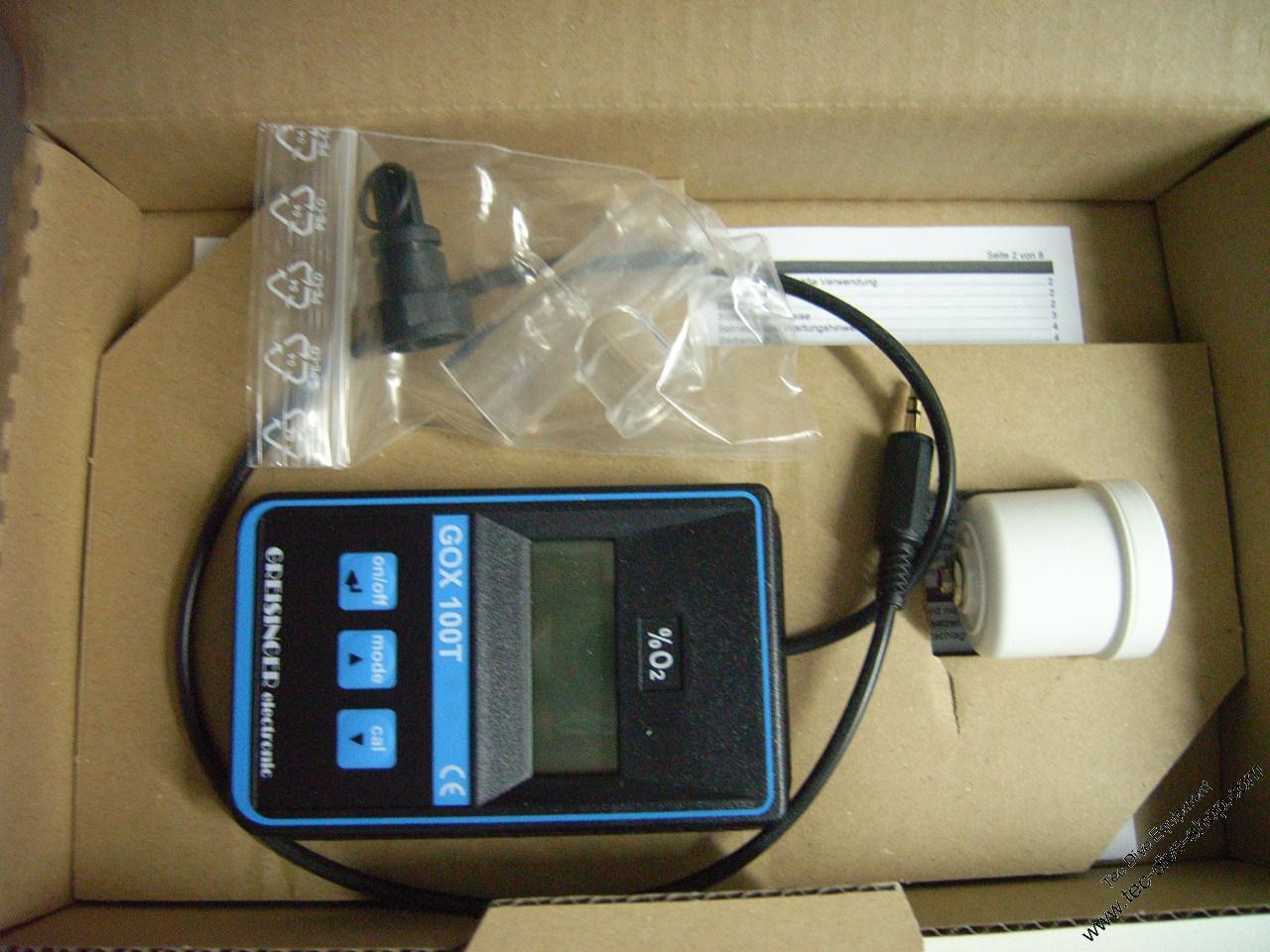Sauerstoff Analyser GOX 100 T mit Flaschenventiladapter