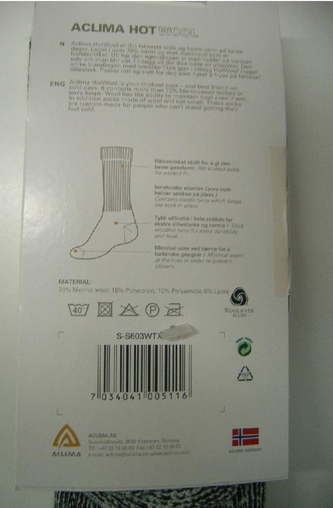 Aclima, Hotwool Socken Gr.32-35