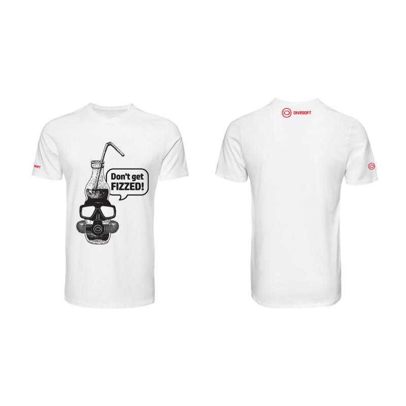 T-shirt DIVESOFT -  Don´t get fizzed - White